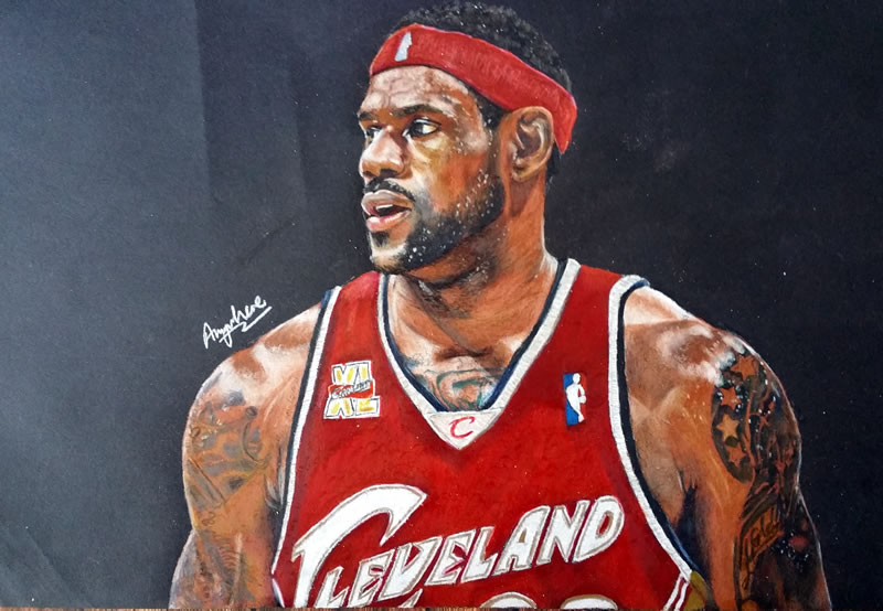 Drawing LeBron James 2015 – Cleveland Cavaliers – hyperrealistic art